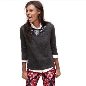 J. Crew Starburst Jeweled Collar Grey Blue Sweater
